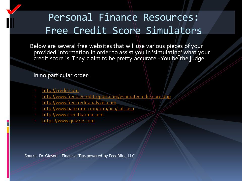 Personal Finance Resources: Free Credit Score Simulators