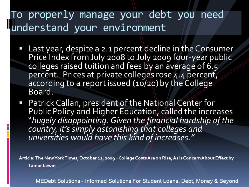 To properly manage your debt you need understand your environment