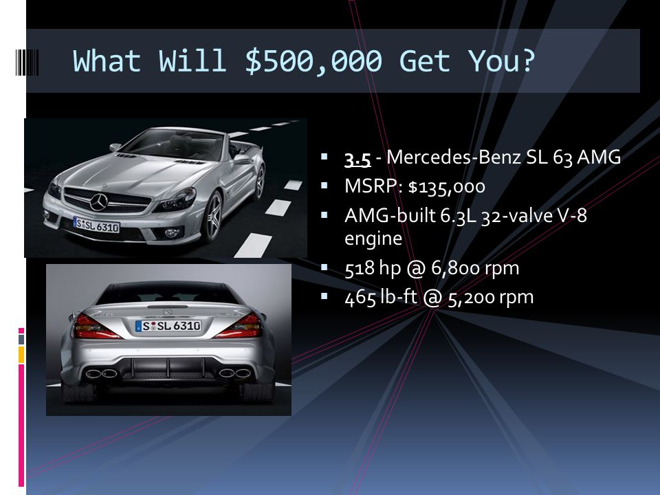 What Will $500,000 Get You 3.5 - Mercedes-Benz SL 63 AMG