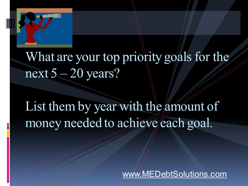 What are your top priority goals for the next 5 – 20 years