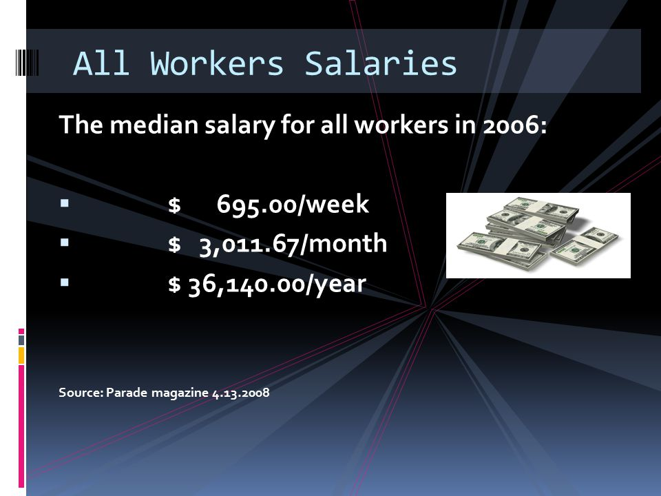All Workers Salaries The median salary for all workers in 2006: