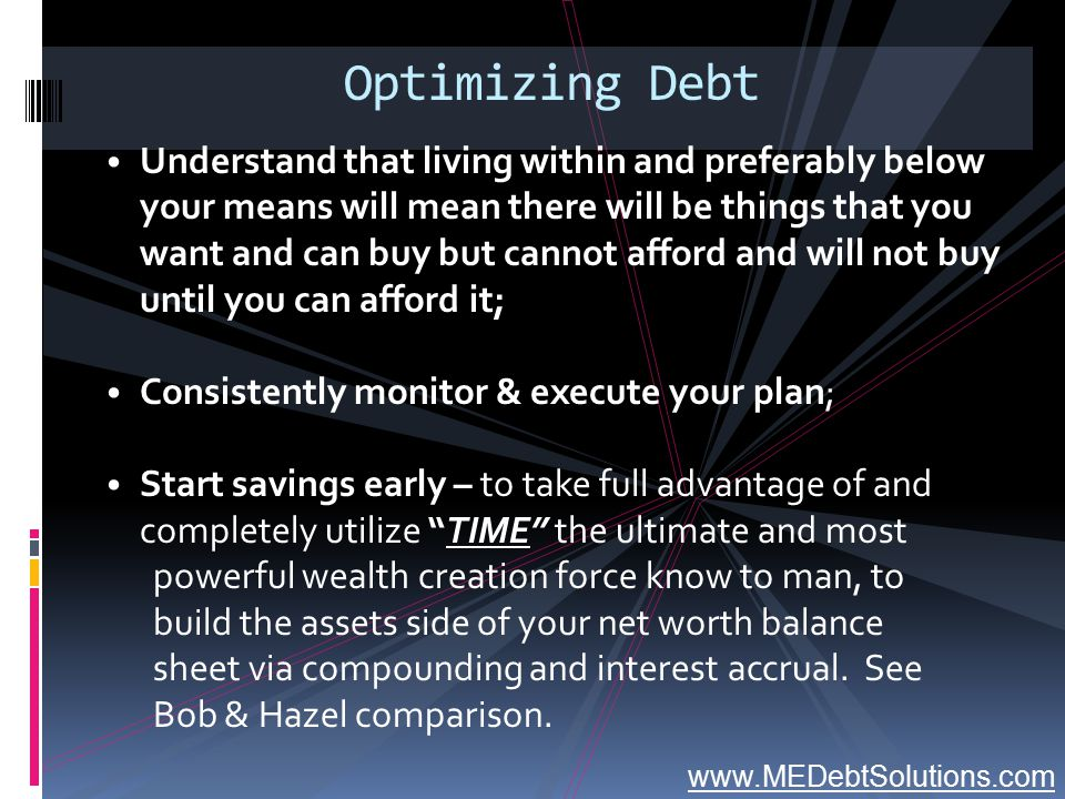 Optimizing Debt