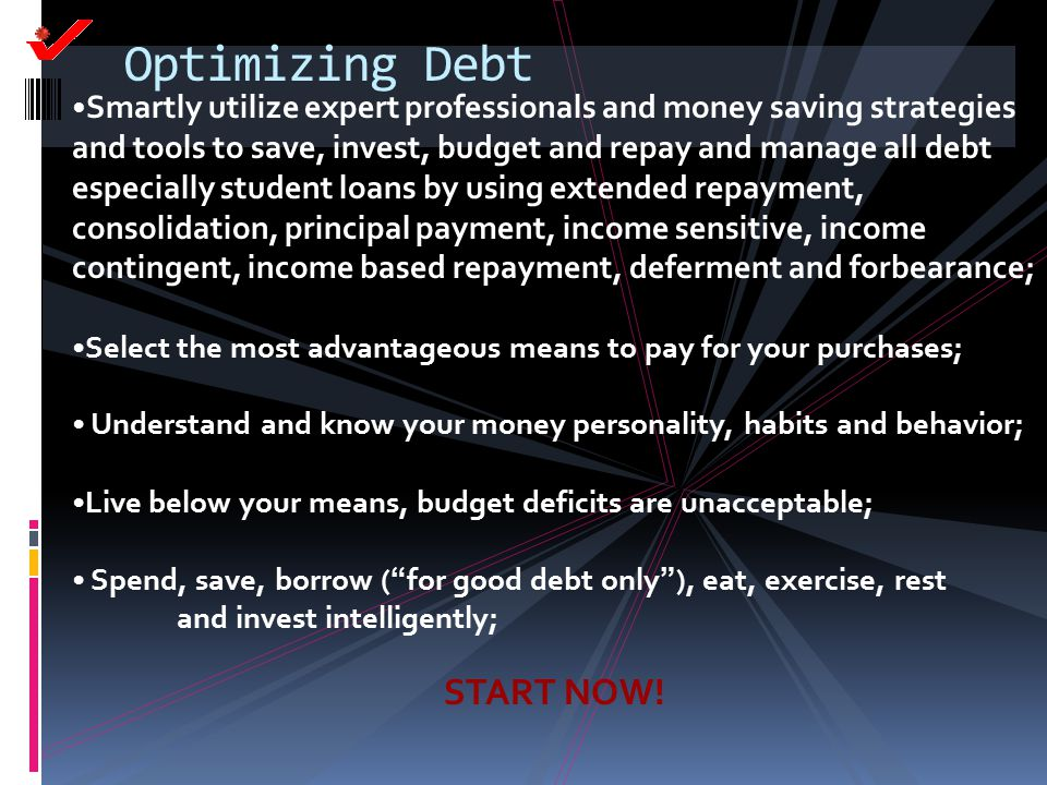 Optimizing Debt START NOW!