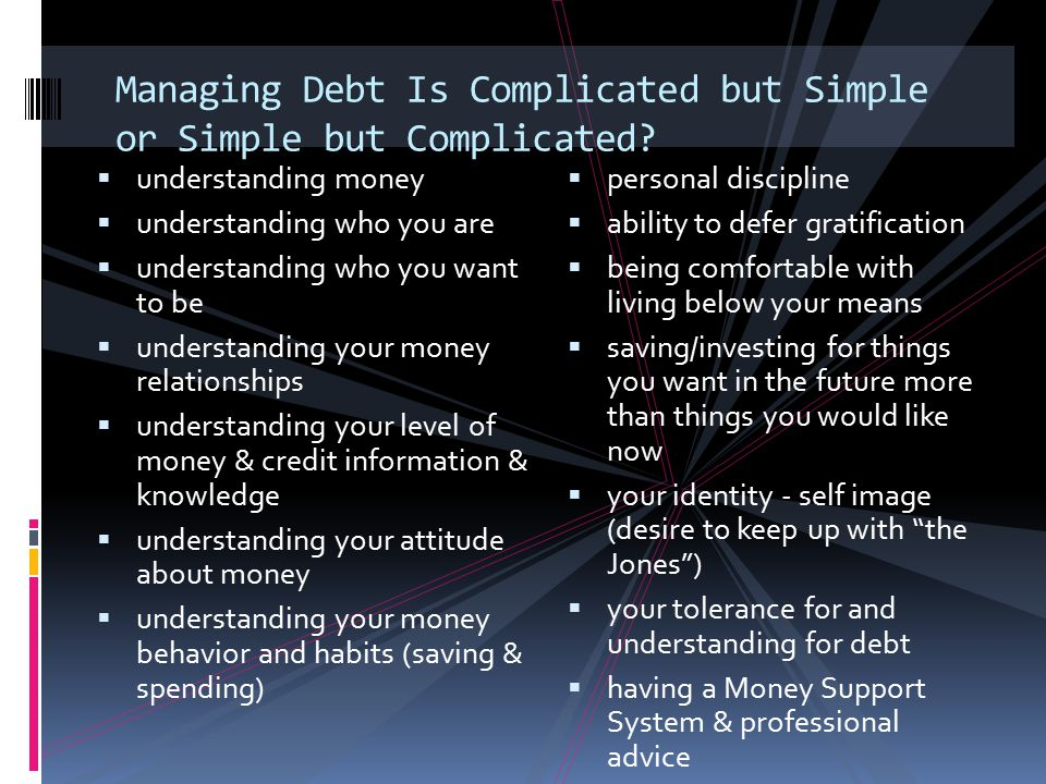 Managing Debt Is Complicated but Simple or Simple but Complicated