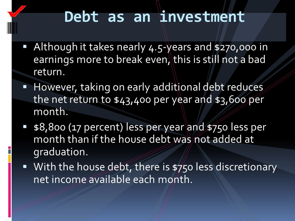 Debt as an investment Although it takes nearly 4.5-years and $270,000 in earnings more to break even, this is still not a bad return.