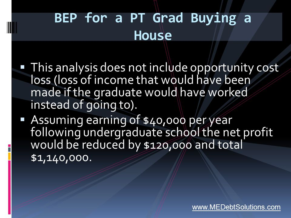 BEP for a PT Grad Buying a House