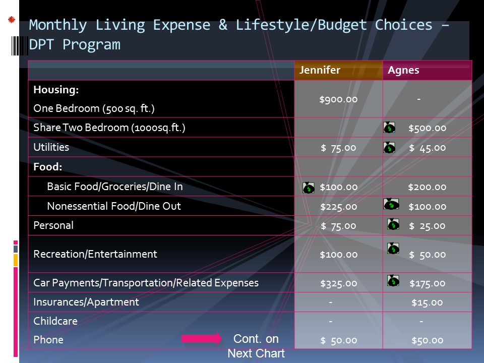 Monthly Living Expense & Lifestyle/Budget Choices – DPT Program