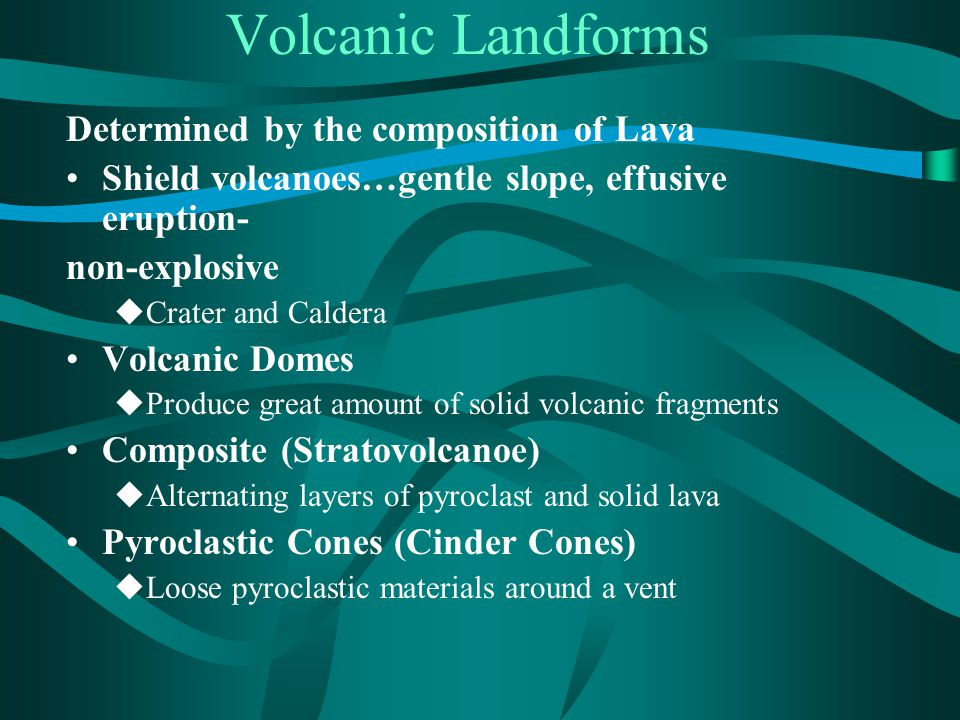 Volcanic Landforms Determined by the composition of Lava