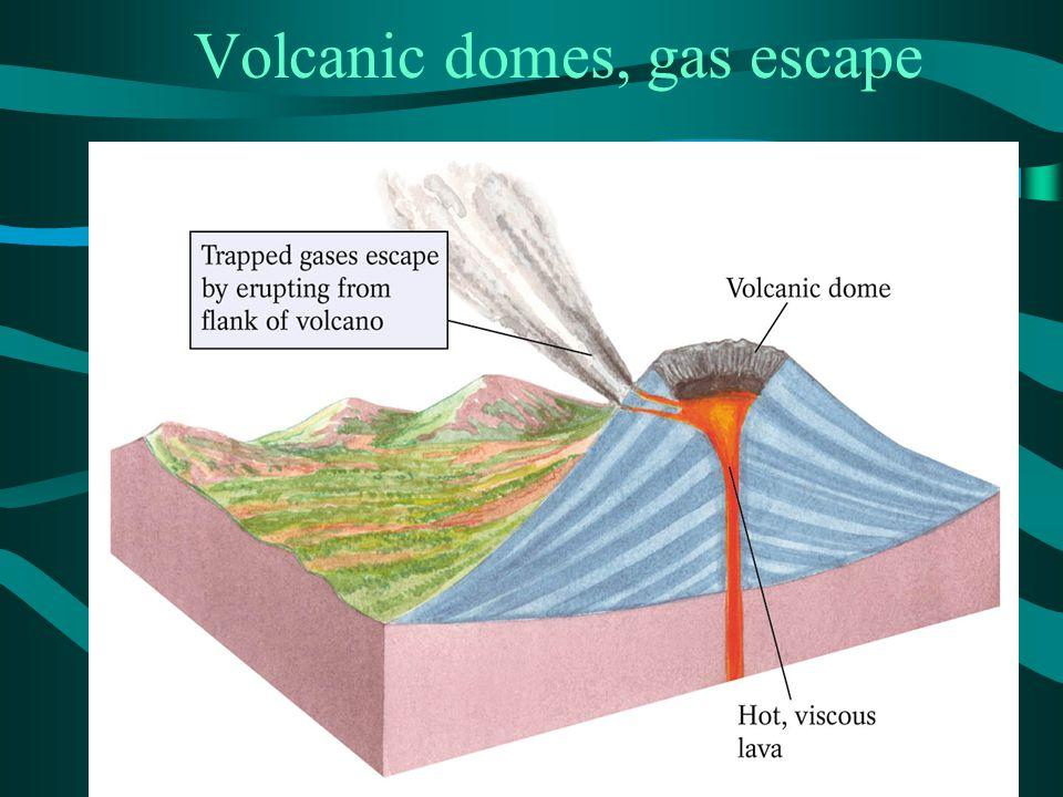 Volcanic domes, gas escape