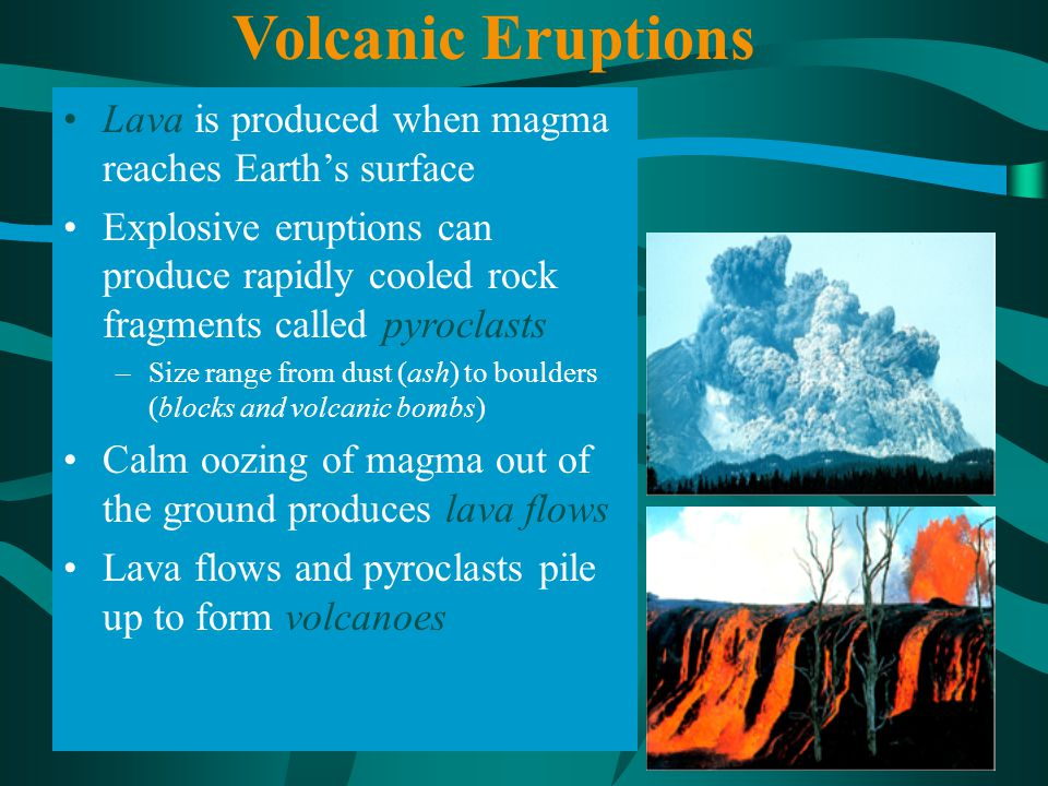 Volcanic Eruptions Lava is produced when magma reaches Earth's surface
