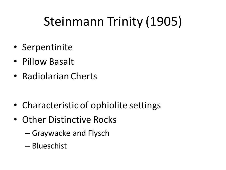 Steinmann Trinity (1905) Serpentinite Pillow Basalt Radiolarian Cherts