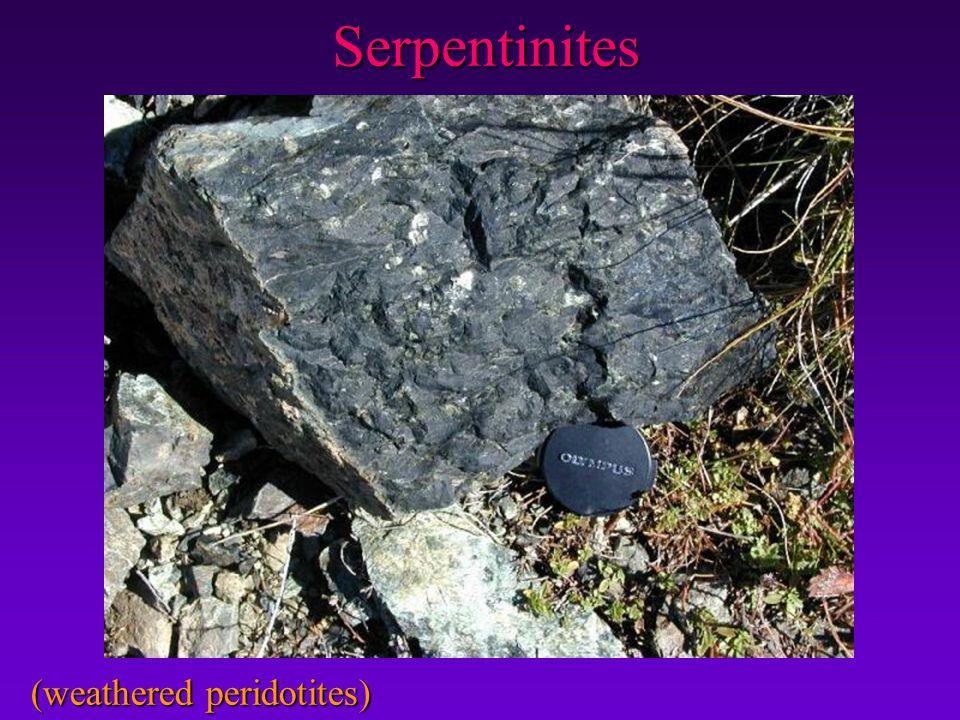 Serpentinites (weathered peridotites)