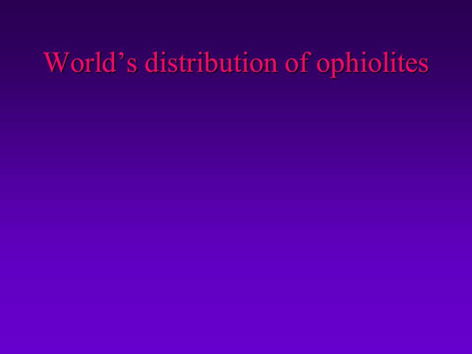 World's distribution of ophiolites