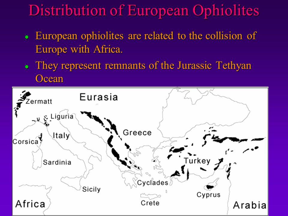 Distribution of European Ophiolites