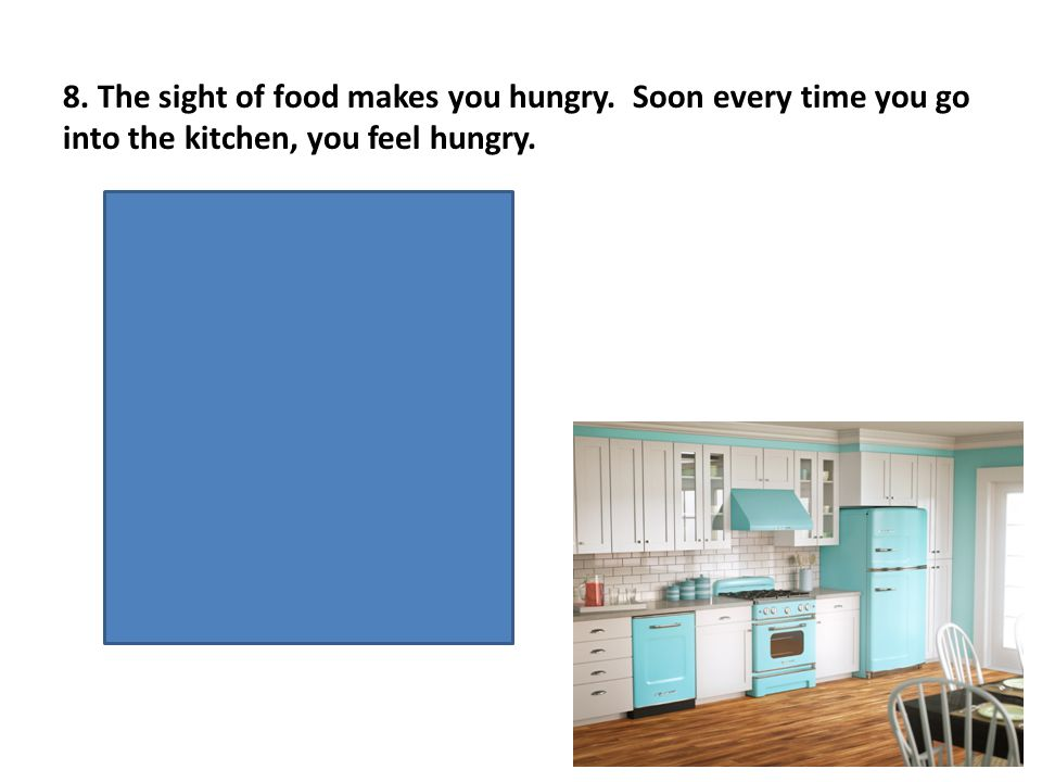 US- sight of food UR- hungry CS- kitchen CR- hungry