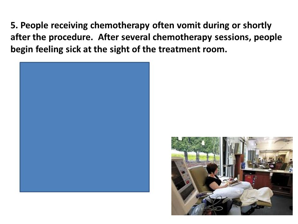 US- chemotherapy UR- vomit CS- treatment room CR- feeling sick