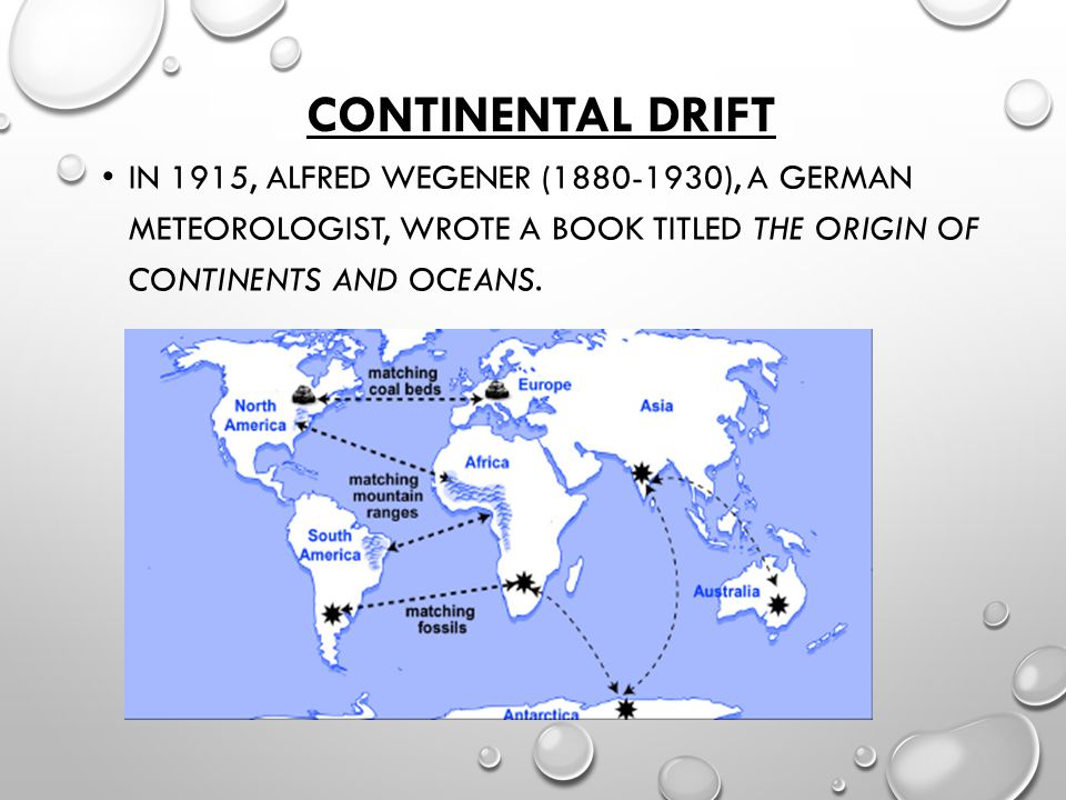 Continental Drift In 1915, Alfred Wegener (1880-1930), a German meteorologist, wrote a book titled The Origin of Continents and Oceans.