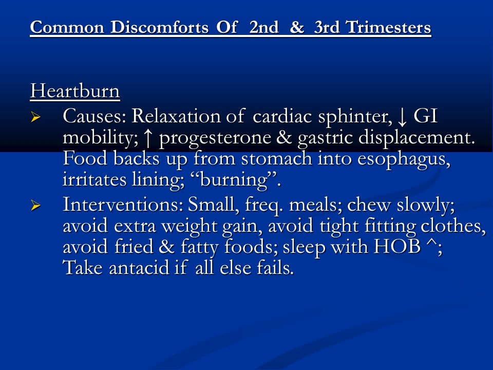 Common Discomforts Of 2nd & 3rd Trimesters