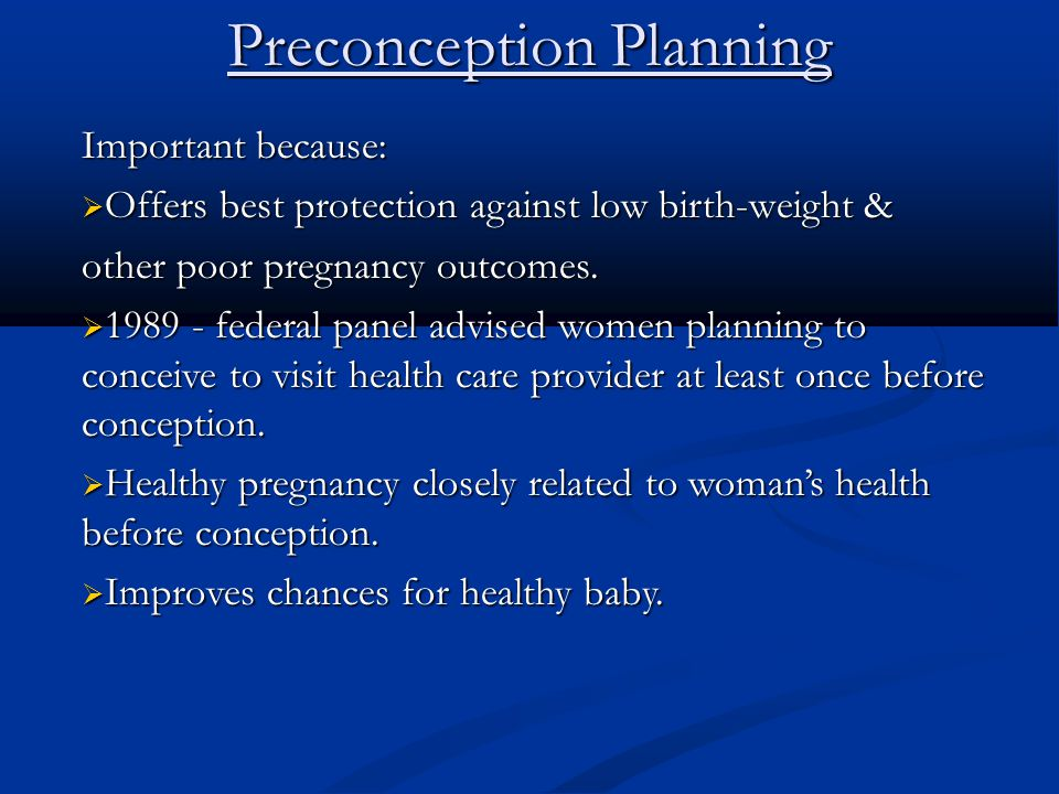 Preconception Planning