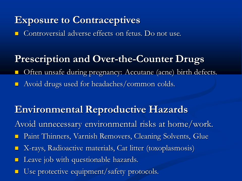 Exposure to Contraceptives