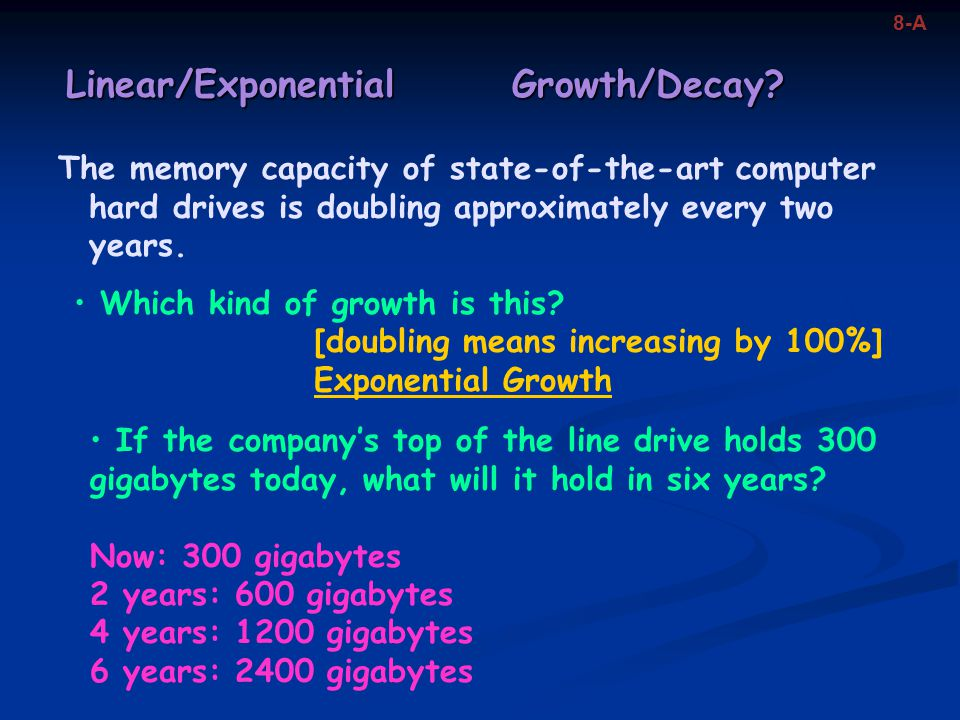Linear/Exponential Growth/Decay