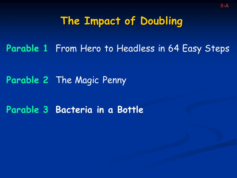 8-A The Impact of Doubling. Parable 1 From Hero to Headless in 64 Easy Steps. Parable 2 The Magic Penny.