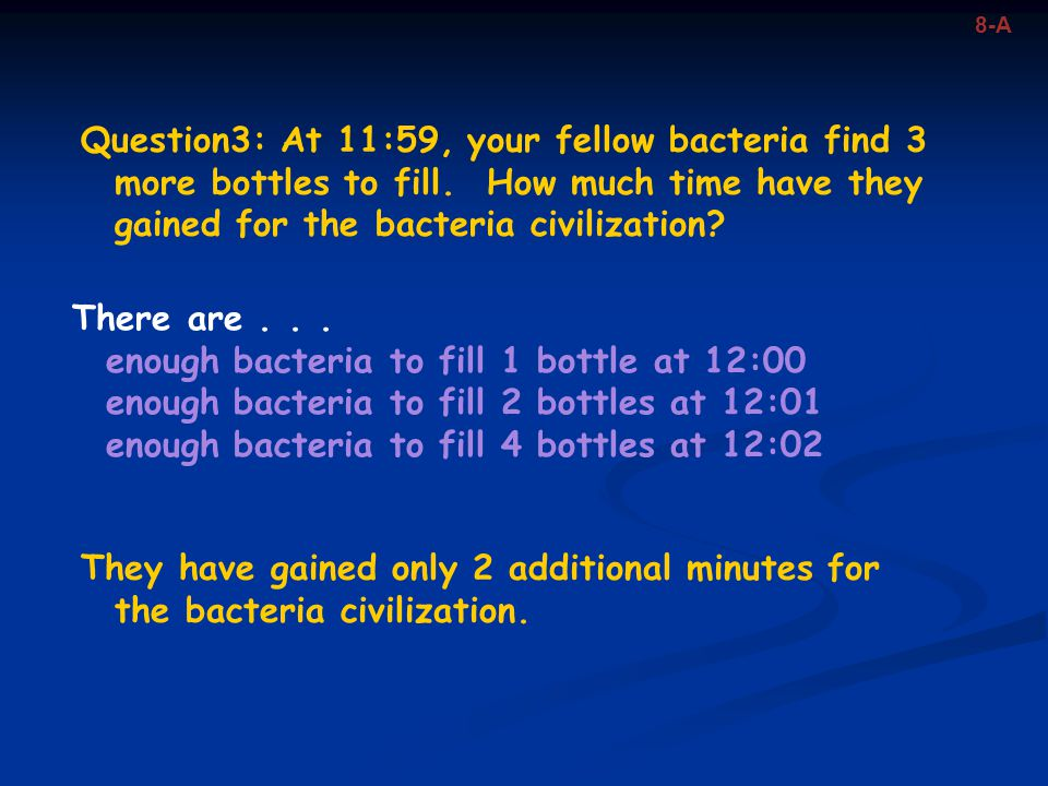 enough bacteria to fill 1 bottle at 12:00