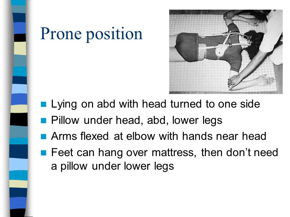 Prone position Lying on abd with head turned to one side