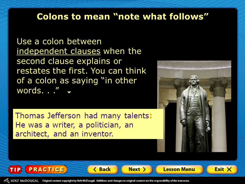 Colons to mean note what follows