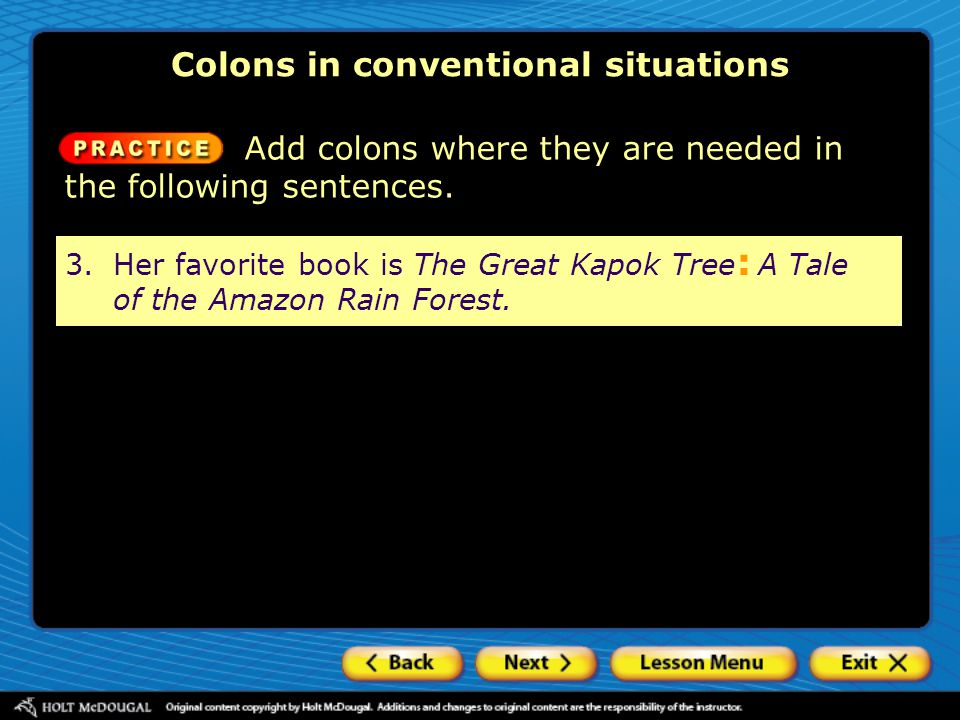 Colons in conventional situations