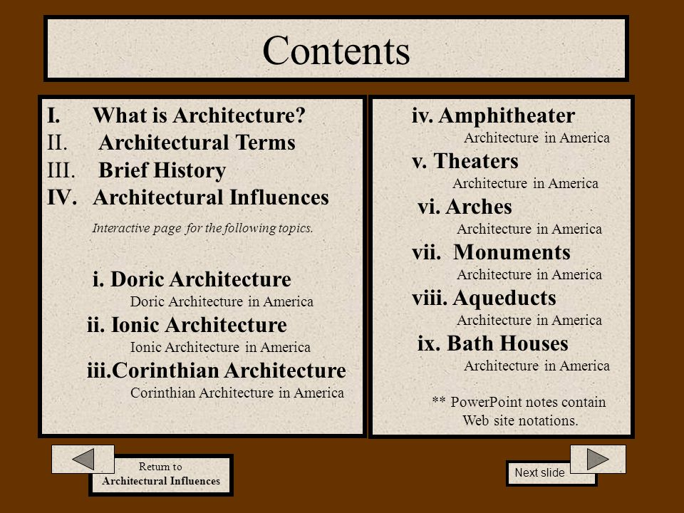 Contents What is Architecture Architectural Terms Brief History