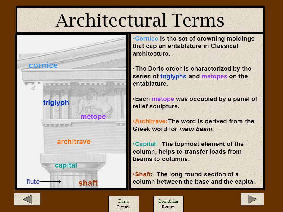 Architectural Terms cornice shaft triglyph metope architrave capital