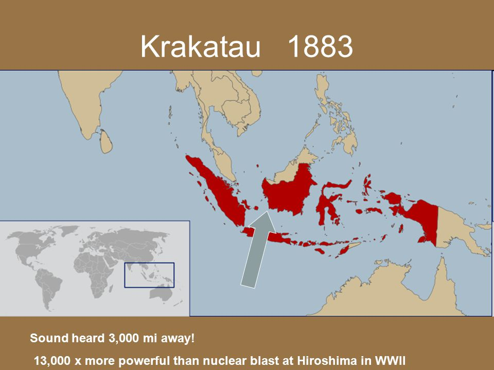 Krakatau 1883 Sound heard 3,000 mi away!