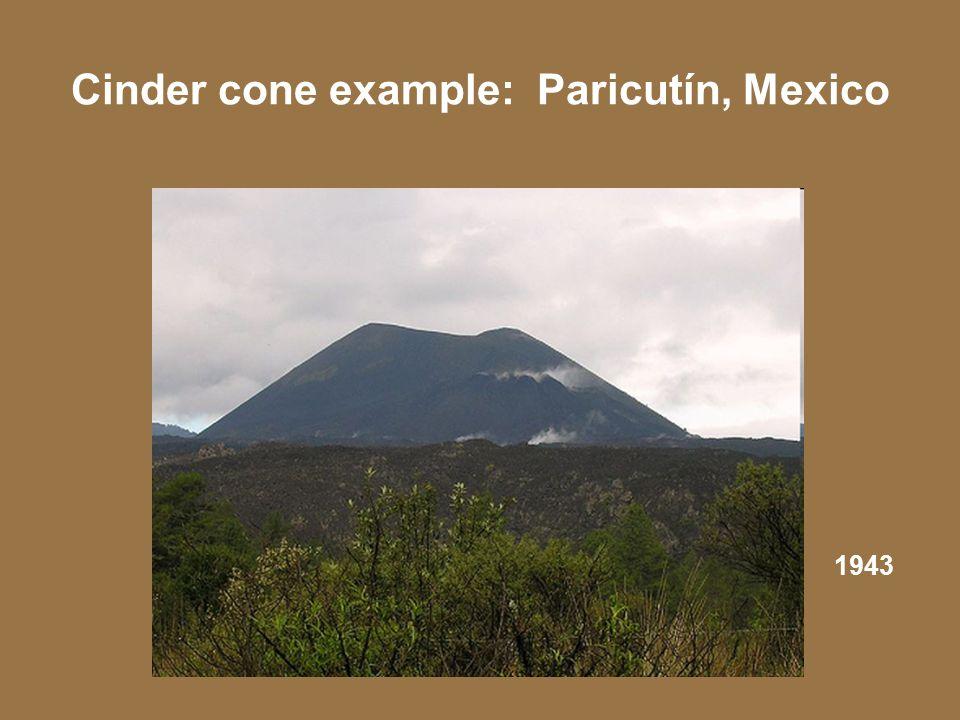 Cinder cone example: Paricutín, Mexico