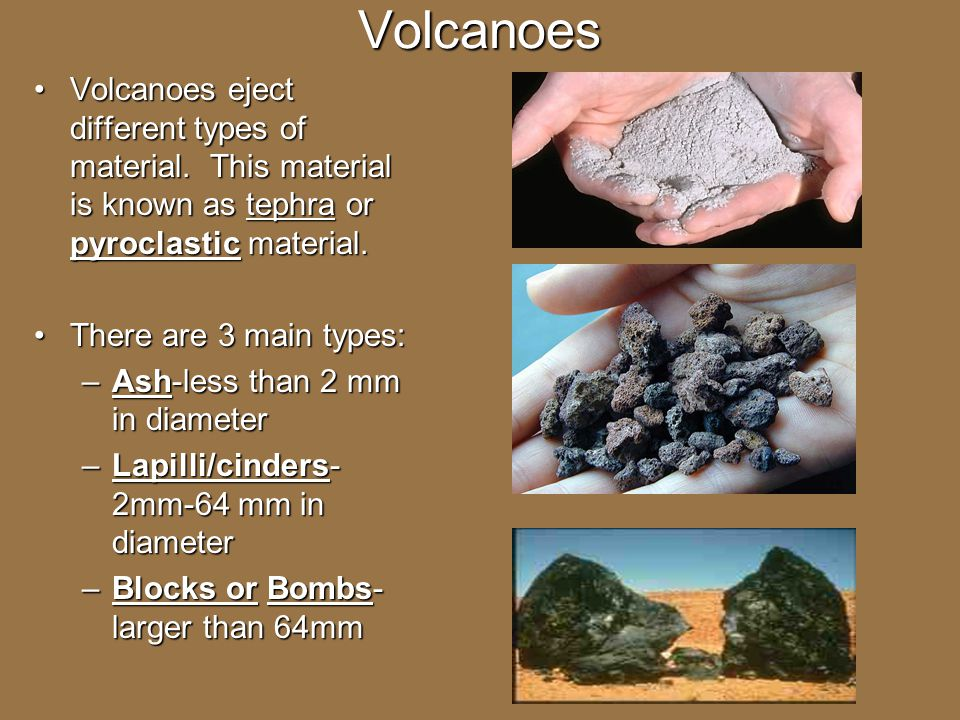 Volcanoes Volcanoes eject different types of material. This material is known as tephra or pyroclastic material.