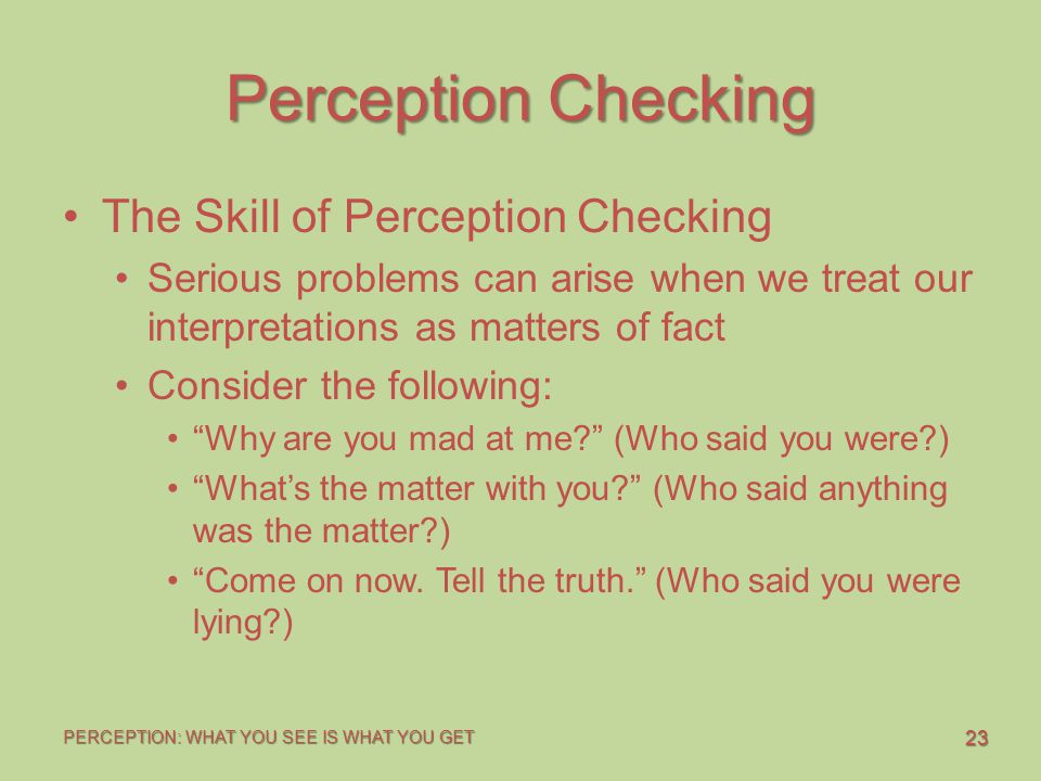 Perception Checking The Skill of Perception Checking