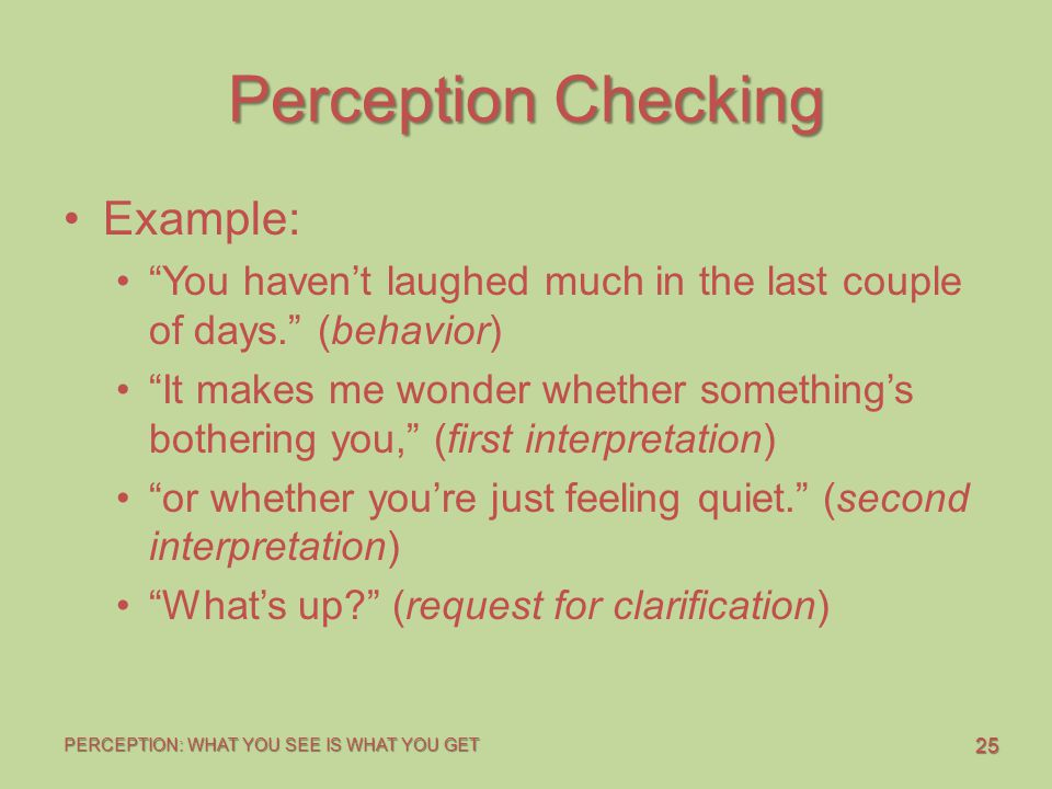 Perception Checking Example: