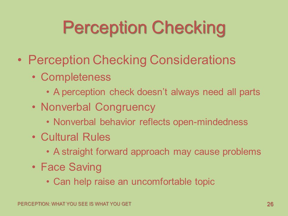 Perception Checking Perception Checking Considerations Completeness
