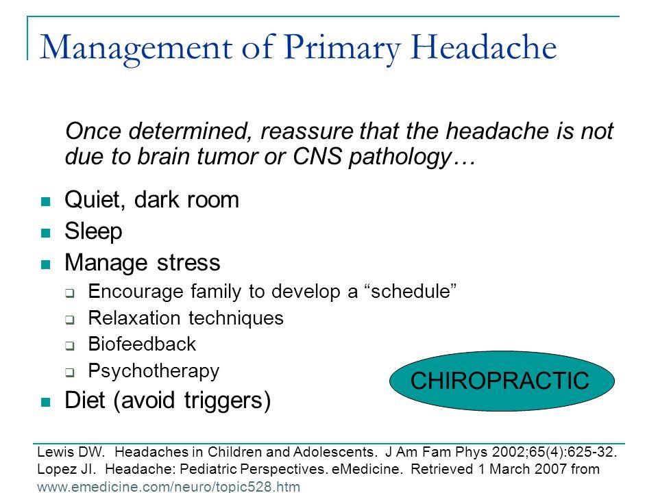 Management of Primary Headache