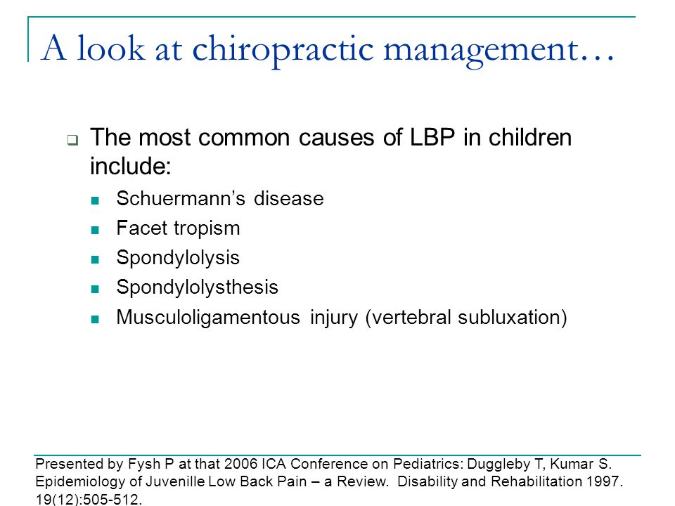 A look at chiropractic management…