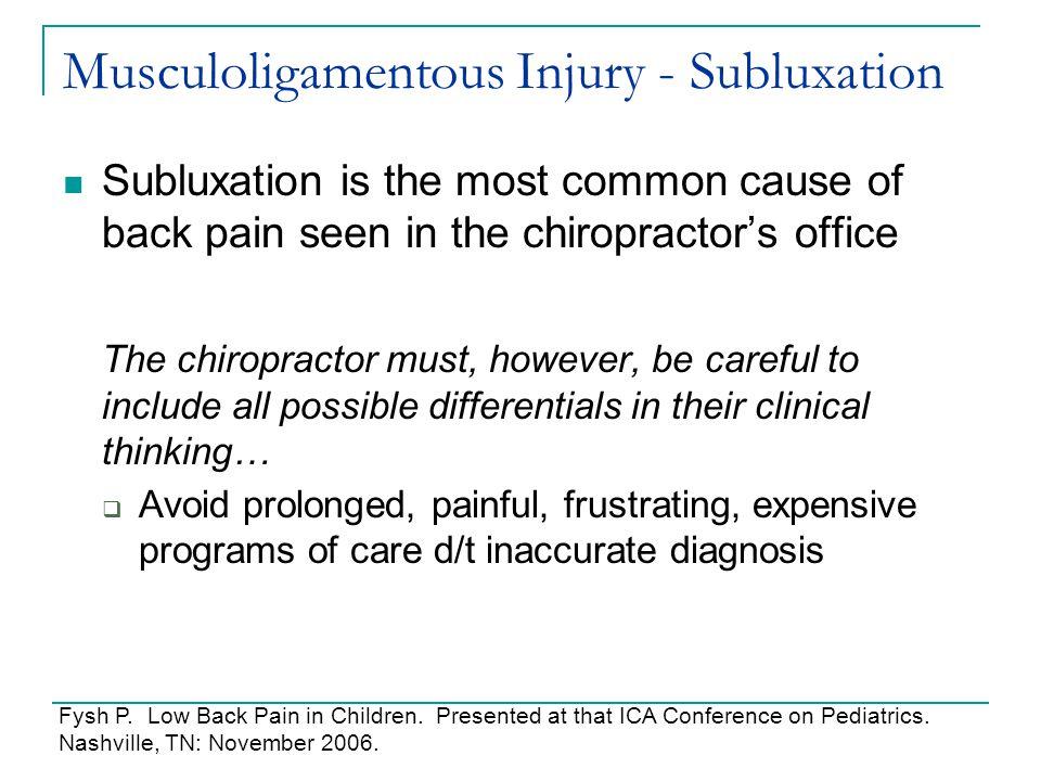 Musculoligamentous Injury - Subluxation
