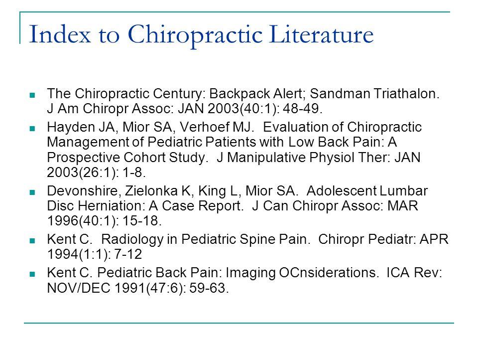 Index to Chiropractic Literature