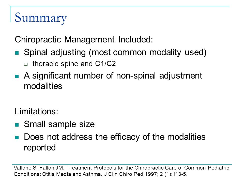 Summary Chiropractic Management Included:
