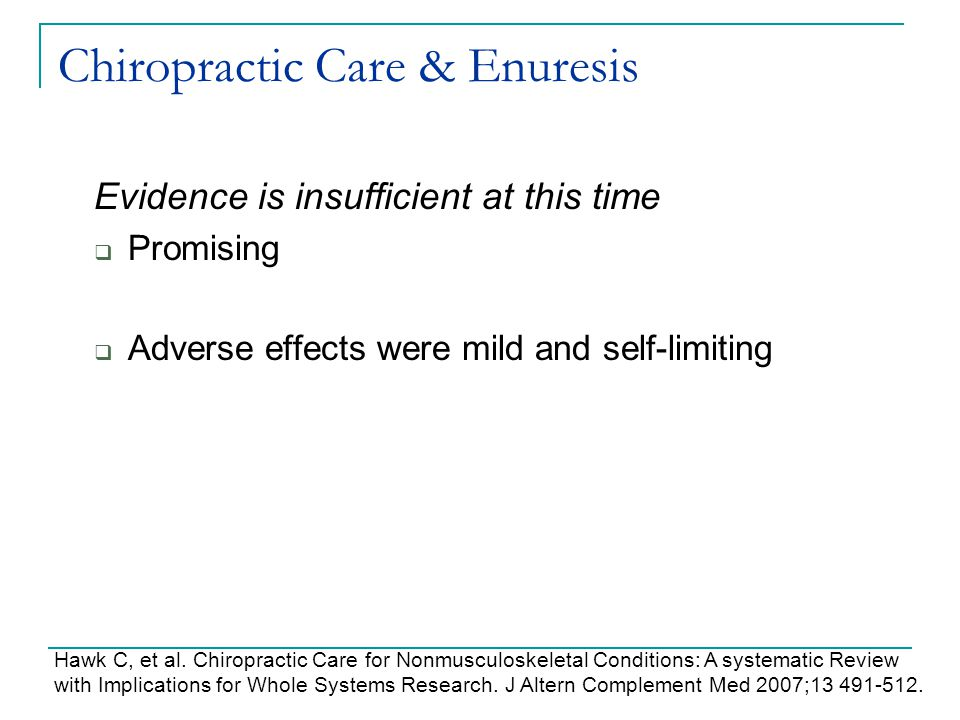 Chiropractic Care & Enuresis