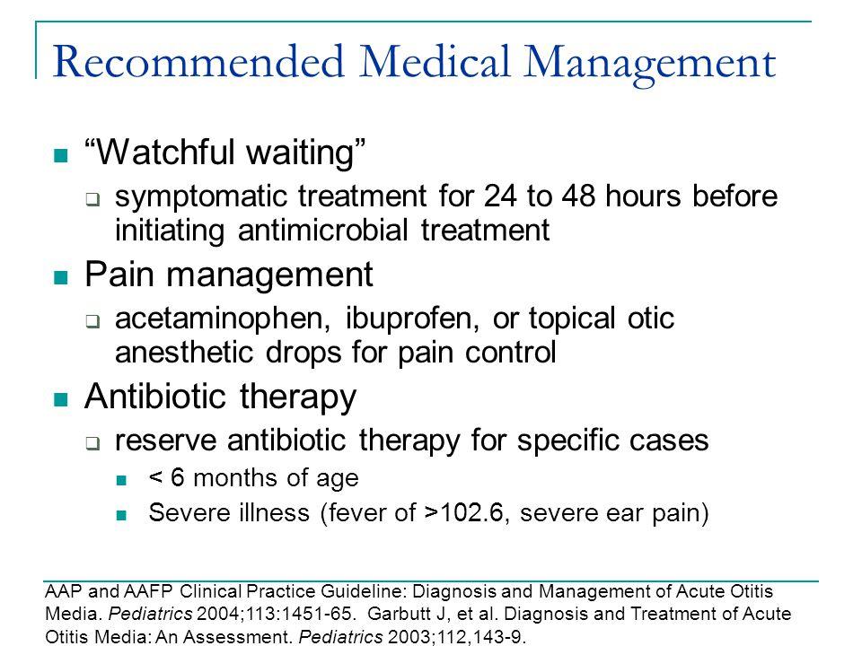 Recommended Medical Management