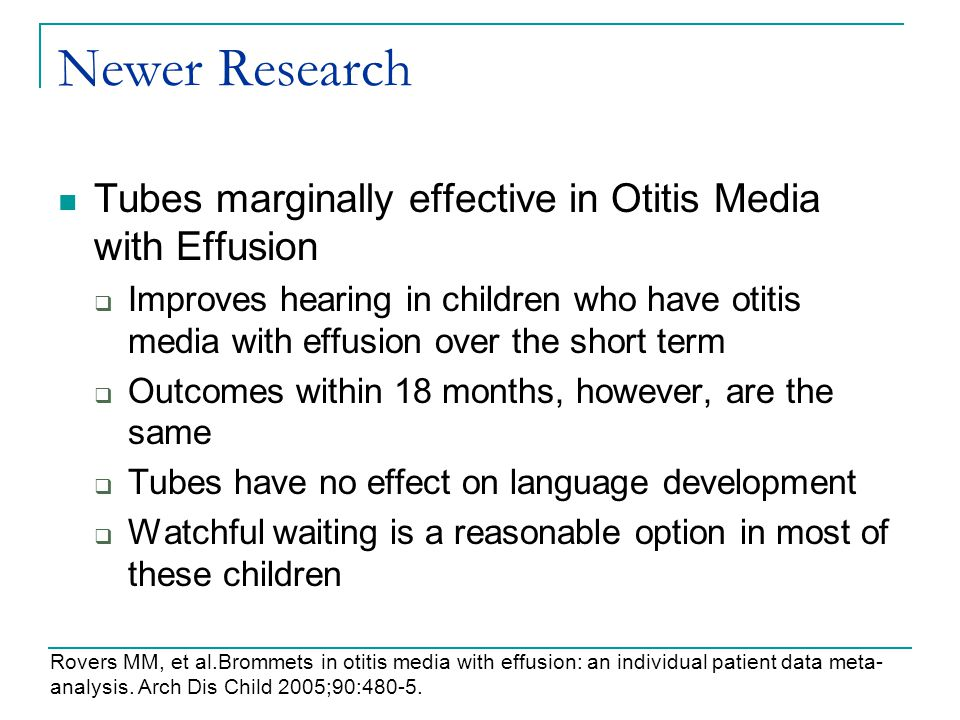 Newer Research Tubes marginally effective in Otitis Media with Effusion.