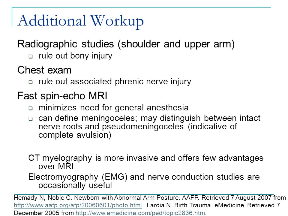 Additional Workup Radiographic studies (shoulder and upper arm)