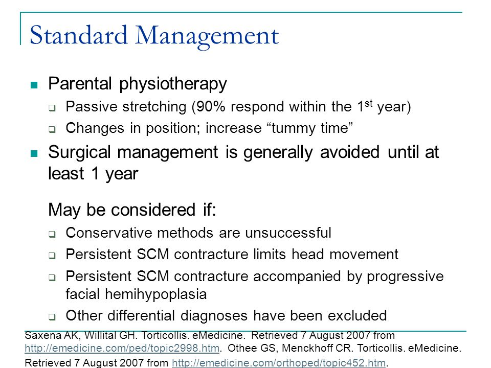 Standard Management Parental physiotherapy