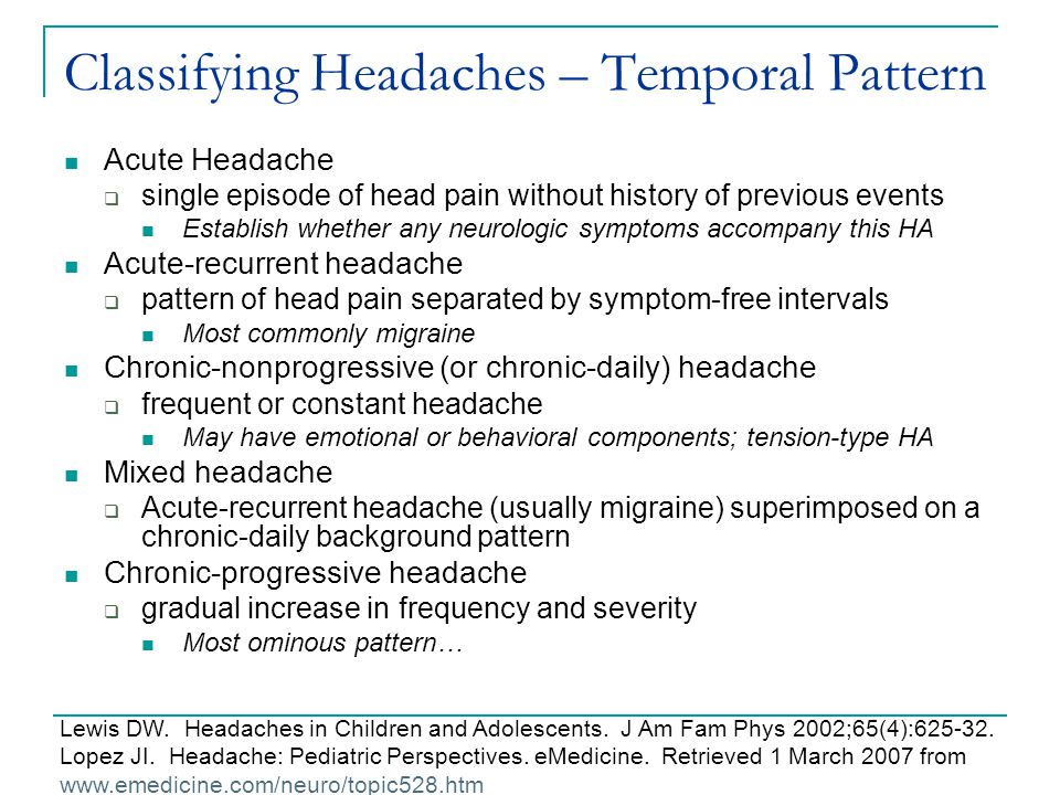 Classifying Headaches – Temporal Pattern