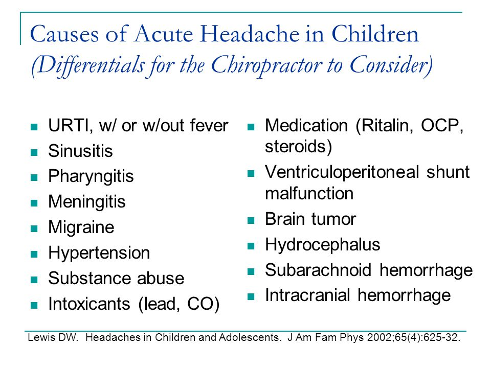 Causes of Acute Headache in Children (Differentials for the Chiropractor to Consider)